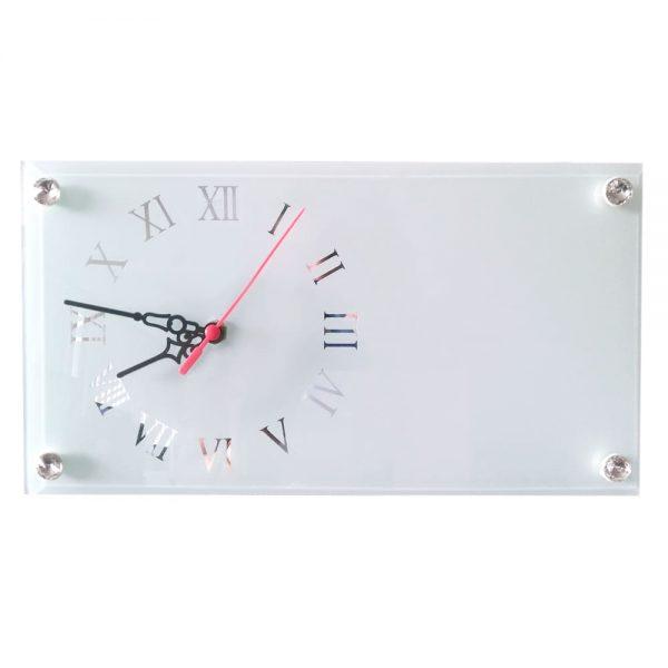 Portaretrato para sublimación rectangular con reloj en vidrio